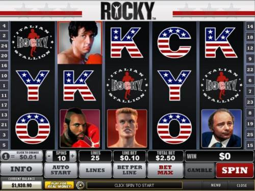 Rocky Review Slots Main game board featuring five reels and 25 paylines with a $200,000 max payout
