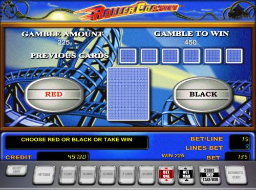 Roller Coaster Review Slots Red or Black Gamble feature