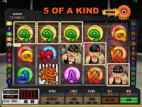 Roller Derby Review Slots here is a 5 of a kind that triggers a 1250 coin payout