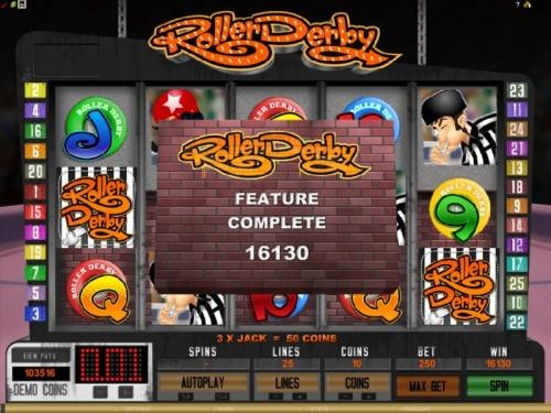 Roller Derby Review Slots the feature completed with a whooping 16130 coin jackpot
