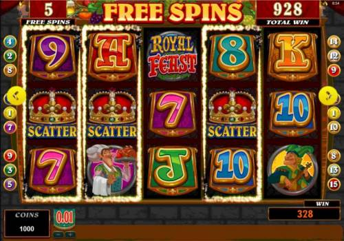 Royal Feast Review Slots Main game board featuring five reels and 15 paylines
