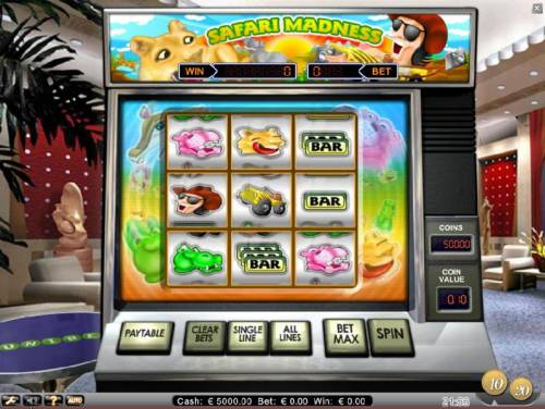 Safari Madness Review Slots main game board featuring 9 reels and 8 paylines
