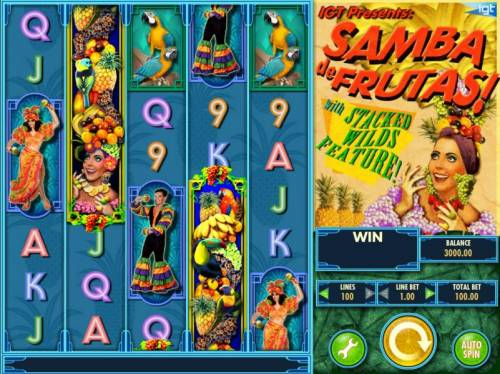 Samba de Frutas Review Slots Main game board featuring five reels and 100 paylines with a $250,000 max payout