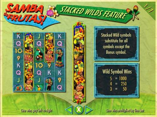 Samba de Frutas Review Slots Stacked Wild symbols substitute for all symbols except the Bonsu symbol