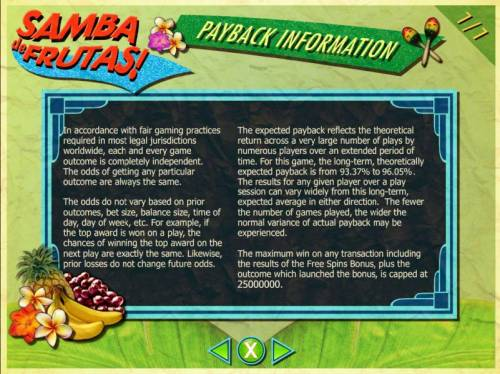 Samba de Frutas Review Slots Payback Information - The RTP for this game is 93.37% to 96.05%