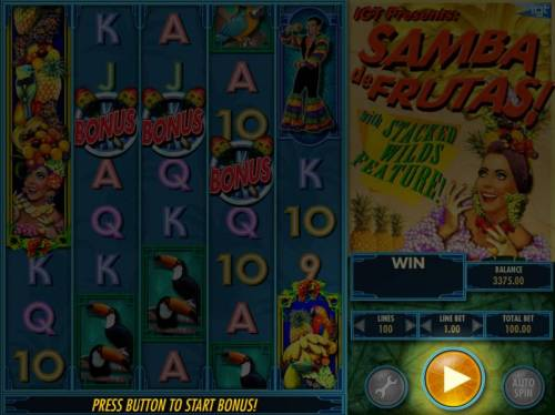 Samba de Frutas Review Slots Bonus feature triggered by three bonus symbols