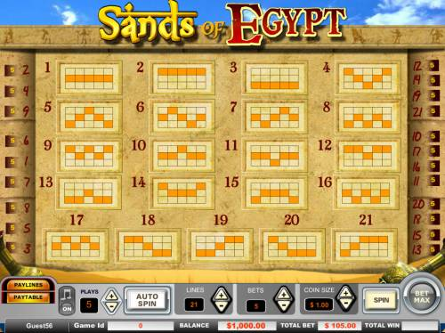 Sands of Egypt Review Slots Paylines 1-21