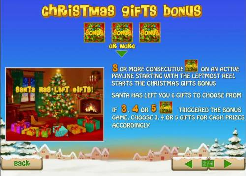 Santa Surprise Review Slots 3 or more consecutive bonus symbols on an active payline triggers christmas gift bonus feature