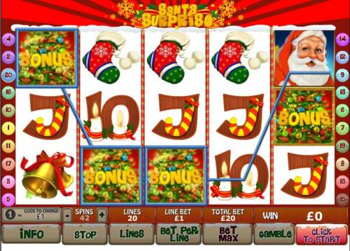 Santa Surprise Review Slots three bonus symbols on an active payline trigger the christmas bonus feature