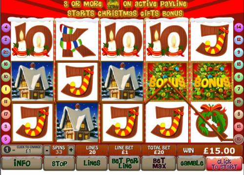 Santa Surprise Review Slots three house symbols trigger free games feature