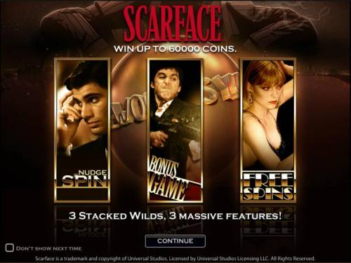 Scarface Review Slots Scarface slot game splash page win up to 60000 coins