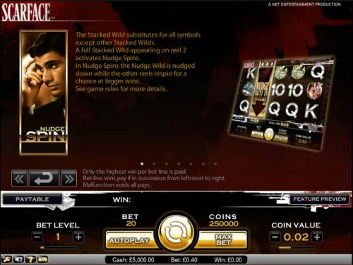 Scarface Review Slots Scarface slot game stacked wild and nudge spin