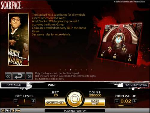 Scarface Review Slots Scarface slot game a full stacked wild appearing on reel 3 activates the bonus game