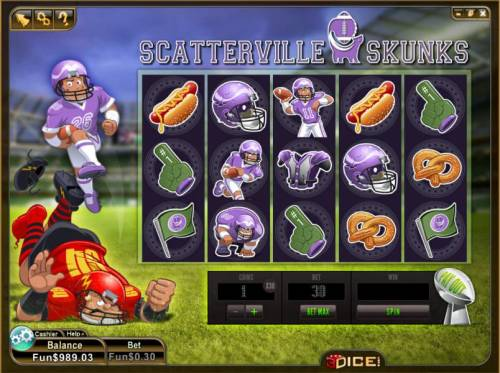 Scatterville Skunks Review Slots main game board featuring 5 reels and 243 ways