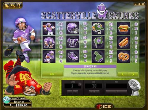 Scatterville Skunks Review Slots wilds and scatter symbols paytable