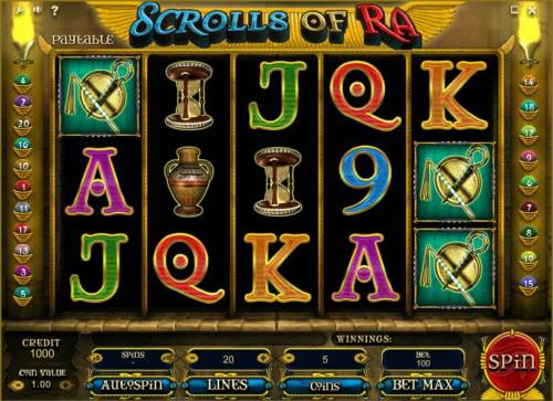 Scrolls of Ra Review Slots main game board featuring five reels and 20 paylines