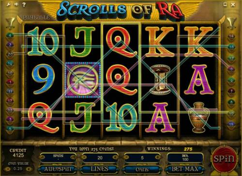 Scrolls of Ra Review Slots multiple winning paylines triggers a 275 coin payout