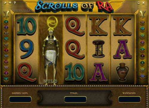 Scrolls of Ra Review Slots free spins feature game board with expanded wild on 2nd reel