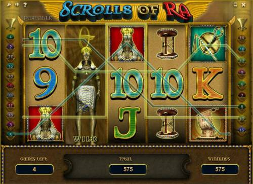 Scrolls of Ra Review Slots expanded wild triggers a 575 coin jackpot during the free spins feature