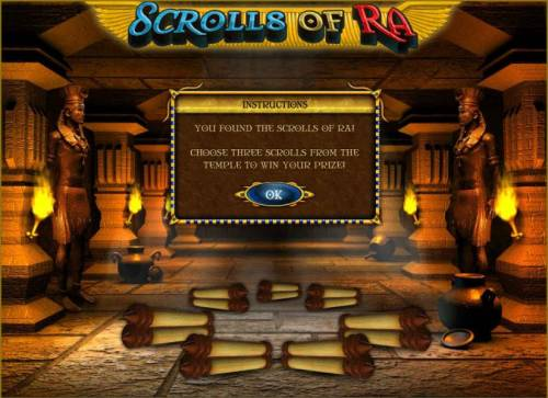 Scrolls of Ra Review Slots choose three scrolls to earn prize awards