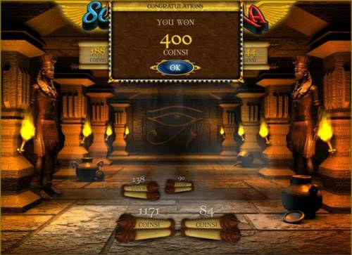 Scrolls of Ra Review Slots bonus feature pays out 400 credits