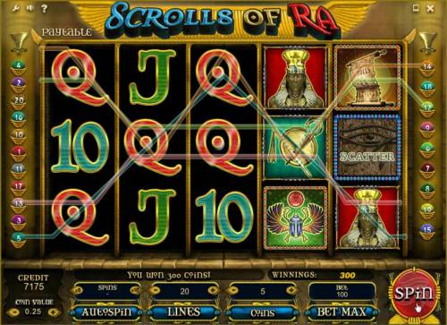 Scrolls of Ra Review Slots multiple winning paylines triggers a 300 coin payout