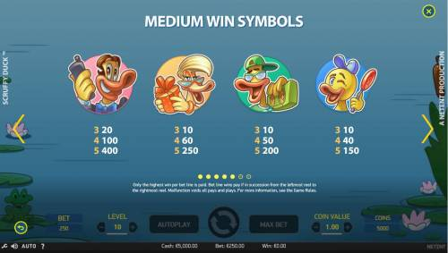 Scruffy Duck Review Slots Medium Value Slot Game  Symbols Paytable.