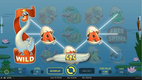 Scruffy Duck Review Slots Multiple winning paylines triggers a 525.00 big win!