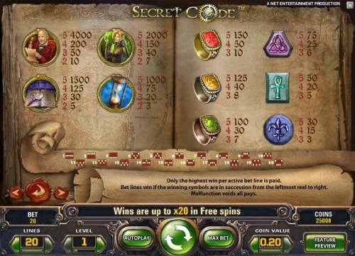 Secret Code Review Slots slot game symbols paytable and payline diagrams