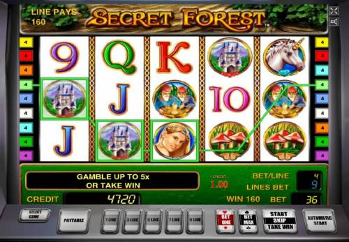 Secret Forest Review Slots Three of a kind triggers a 160 coin win