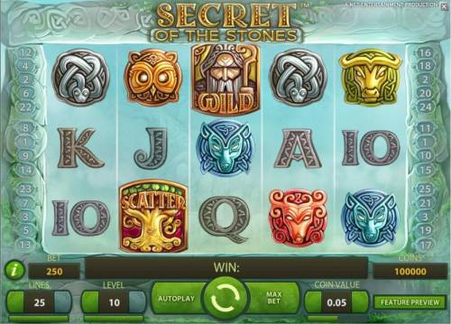 Secret of the Stones Review Slots main game featuring five reels and 25 paylines