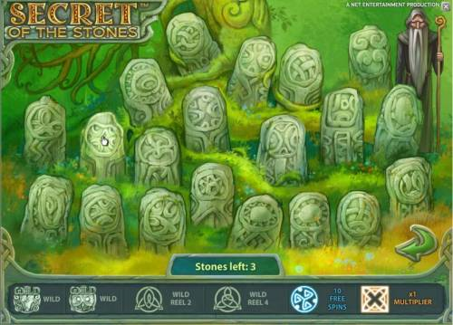 Secret of the Stones Review Slots bonus feature game board - pick three stones to earn prizes