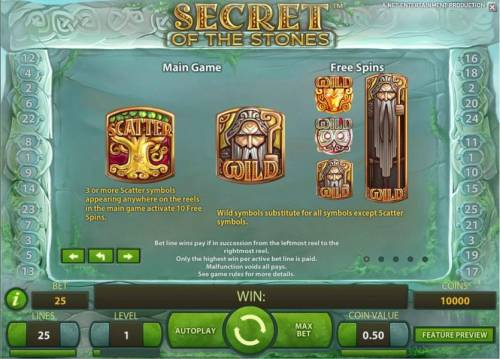 Secret of the Stones Review Slots scatter and wild symbols game rules