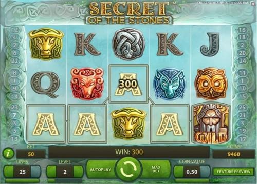 Secret of the Stones Review Slots five of a kind triggers a 300 coin big win