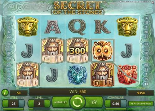 Secret of the Stones Review Slots four of a kind triggers a 300 coin jackpot