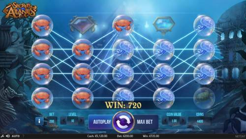 Secrets of Atlantis Review Slots Game triggers multiple winning paylines both ways for a 720 coin big win!
