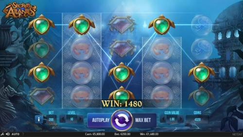 Secrets of Atlantis Review Slots A 1480 coin big win triggered by multiple winning paylines.