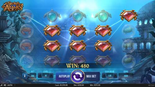 Secrets of Atlantis Review Slots A colossal symbol leads to multiple winning conbinations and a 480 coin payout.