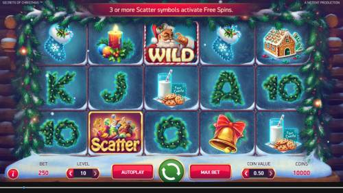 Secrets of Christmas Review Slots Main game board featuring five reels and 25 paylines with a $1,750,000 max payout