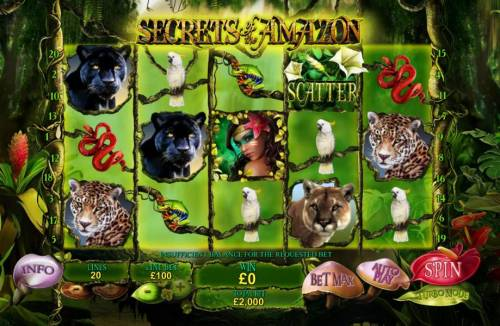 Secrets of the Amazon Review Slots Main game board featuring five reels and 20 paylines with a $500,000 max payout