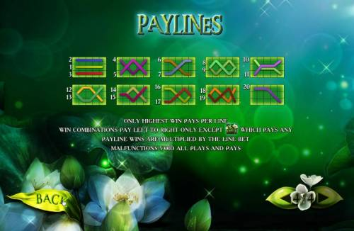 Secrets of the Amazon Review Slots Payline Diagrams 1-20. Only the highest win per bet line is paid. Win combinations pay left to right only except the moon flower scatter symbol which pays any. Payline wins are multiplied by the line bet.