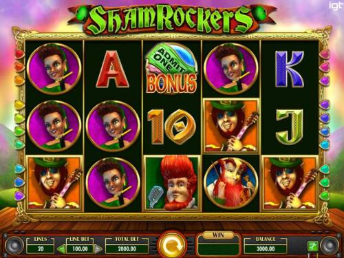 Shamrockers Eire To Rock Review Slots Main game board featuring five reels and 20 paylines with a $250,000 max payout