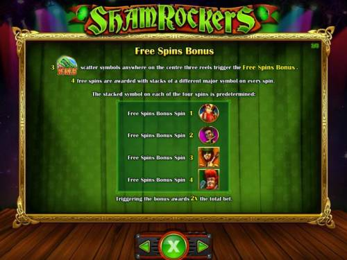 Shamrockers Eire To Rock Review Slots Three admit one bonus symbols anywhere on the center three reels trigger the Free Spins Bonus. 4 free spins are awarded with stacks of a different major symbol on every spin.