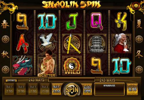 Shaolin Spin Review Slots Main game board featuring five reels and 243 ways to win with a $2,500 max payout