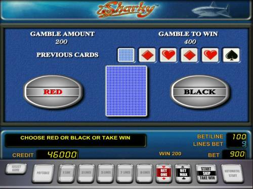 Sharky Review Slots Gamble Feature - To gamble any win press Gamble then select Red or Black.