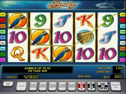Sharky Review Slots A Three of a Kind triggers a 5000 coin big win.