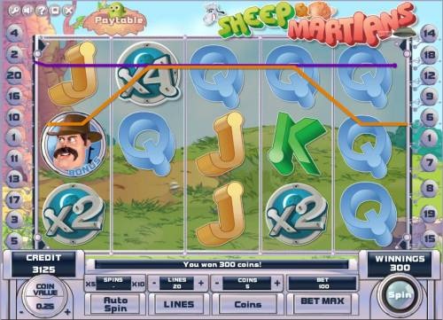 Sheep and Martians Review Slots Game pays both ways.