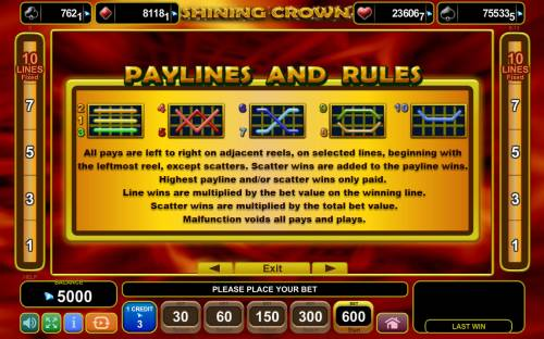 Shining Crown Review Slots Paylines 1-10