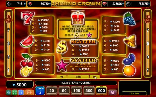 Shining Crown Review Slots Paytable