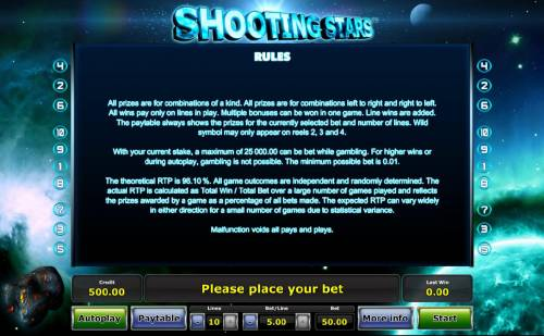 Shooting Stars Review Slots General Game Rules - The theoretical average return to player (RTP) is 96.10%.